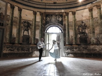 Villa Palagonia music duo inside Villa Palagonia.